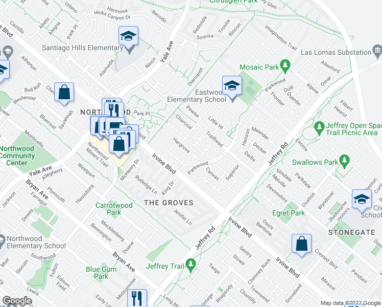 map of restaurants, bars, coffee shops, grocery stores, and more near 130 Hargrove in Irvine
