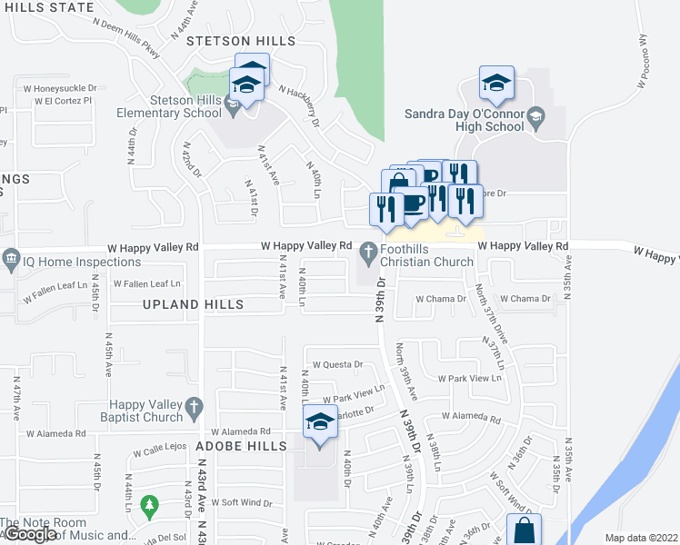 map of restaurants, bars, coffee shops, grocery stores, and more near 4006 West Fallen Leaf Lane in Glendale
