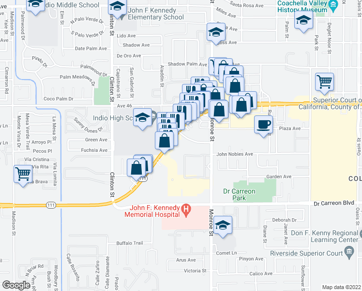 map of restaurants, bars, coffee shops, grocery stores, and more near 81871 Las Palmas Road in Indio