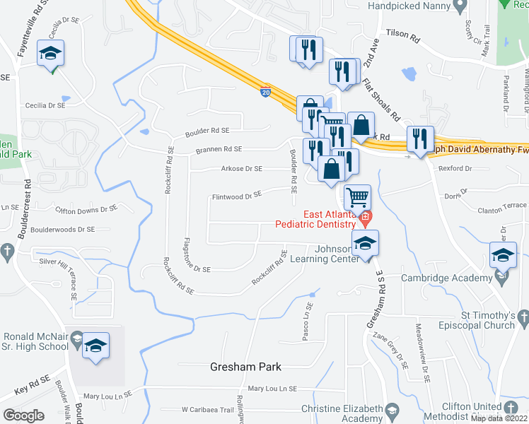 map of restaurants, bars, coffee shops, grocery stores, and more near 1604 Flintwood Drive Southeast in Atlanta