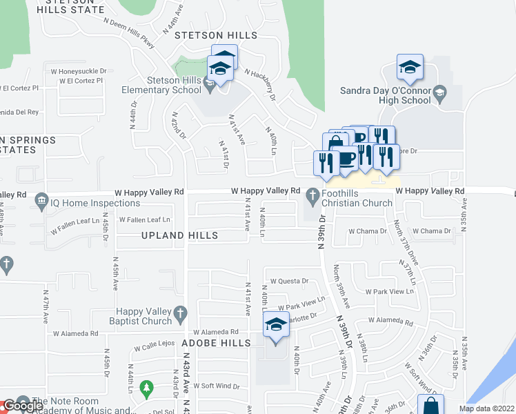 map of restaurants, bars, coffee shops, grocery stores, and more near 24834 North 40th Lane in Glendale