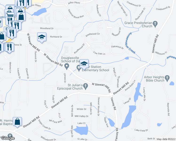 map of restaurants, bars, coffee shops, grocery stores, and more near 9999 Parkway South in Douglasville