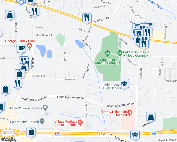 map of restaurants, bars, coffee shops, grocery stores, and more near 2526 Willenhall Way in Lithonia