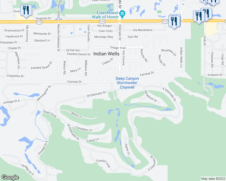 map of restaurants, bars, coffee shops, grocery stores, and more near 46045 Eldorado Drive in Indian Wells