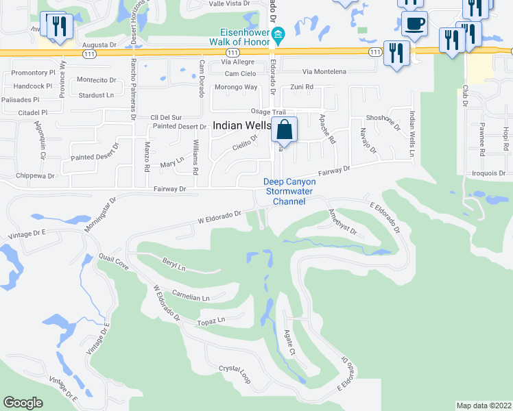 map of restaurants, bars, coffee shops, grocery stores, and more near 8152 Eldorado Drive in Indian Wells