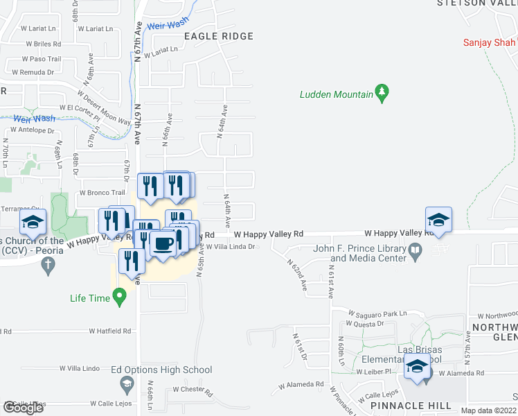 map of restaurants, bars, coffee shops, grocery stores, and more near 25039 North 63rd Drive in Phoenix