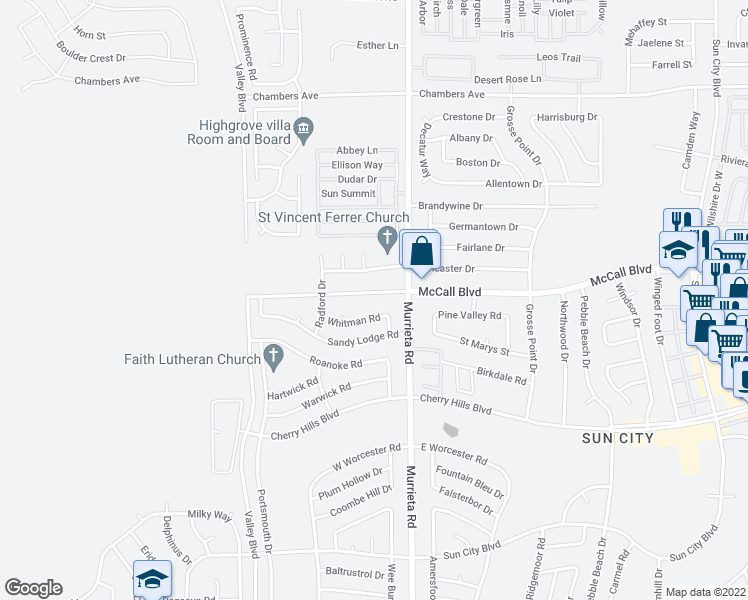 map of restaurants, bars, coffee shops, grocery stores, and more near 25901 McCall Boulevard in Menifee
