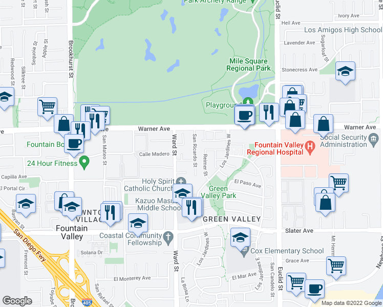 map of restaurants, bars, coffee shops, grocery stores, and more near 17125 San Ricardo Street in Fountain Valley