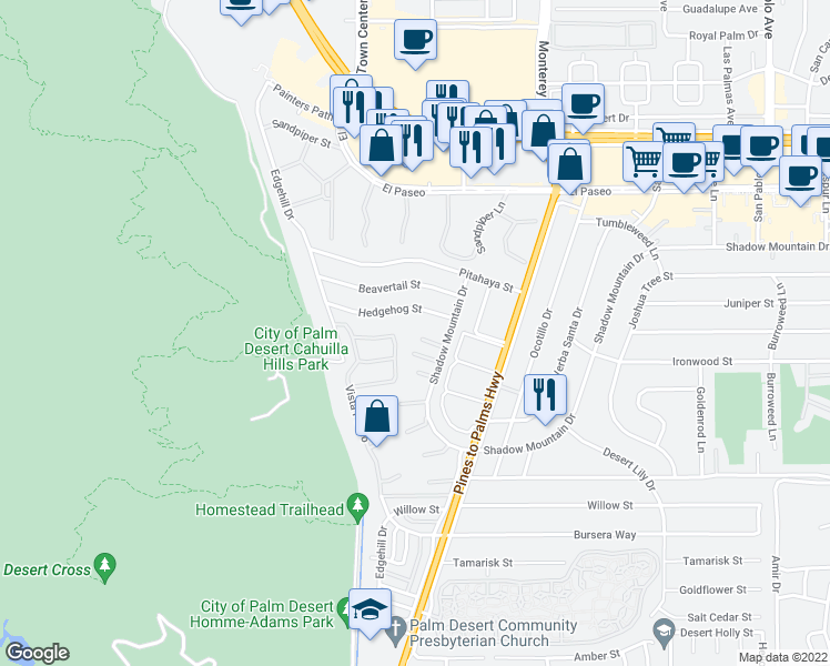 map of restaurants, bars, coffee shops, grocery stores, and more near 72710 Sage Court in Palm Desert