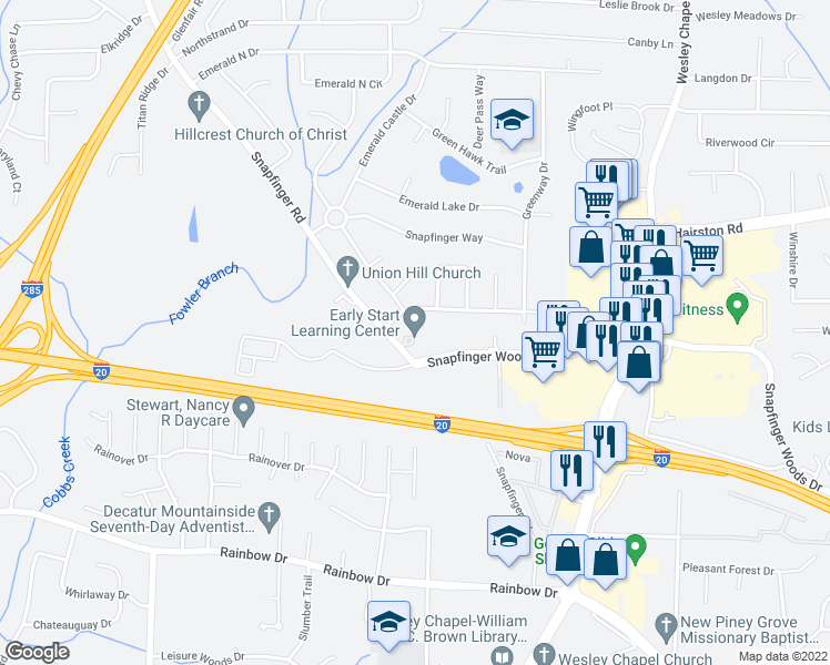 map of restaurants, bars, coffee shops, grocery stores, and more near 4023 Tiffany Drive in Decatur