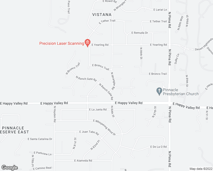 map of restaurants, bars, coffee shops, grocery stores, and more near 25203 North Ranch Gate Road in Scottsdale