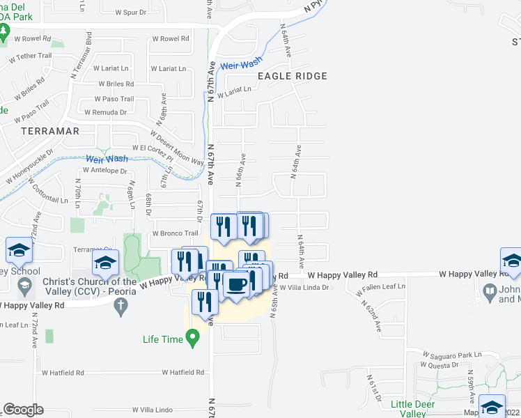 map of restaurants, bars, coffee shops, grocery stores, and more near 6508 West Saddlehorn Road in Phoenix