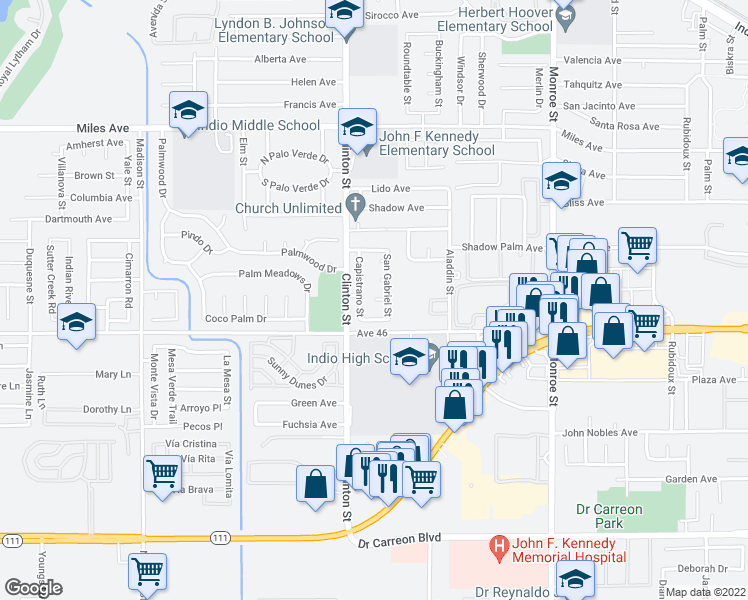 map of restaurants, bars, coffee shops, grocery stores, and more near 80123 Santa Barbara Court in Indio