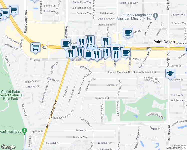 map of restaurants, bars, coffee shops, grocery stores, and more near 73245 Shadow Mountain Drive in Palm Desert