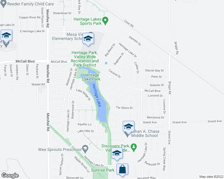 map of restaurants, bars, coffee shops, grocery stores, and more near Moorings Court in Menifee