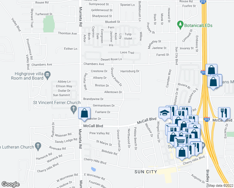 map of restaurants, bars, coffee shops, grocery stores, and more near 26309 Allentown Drive in Menifee