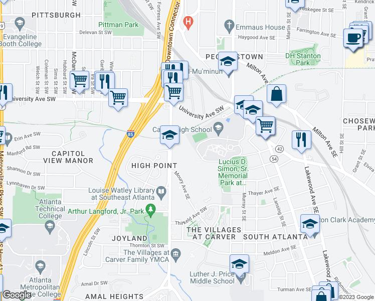 Map Of Southwest Georgia.1320 Pryor Road Southwest Atlanta Ga Walk Score
