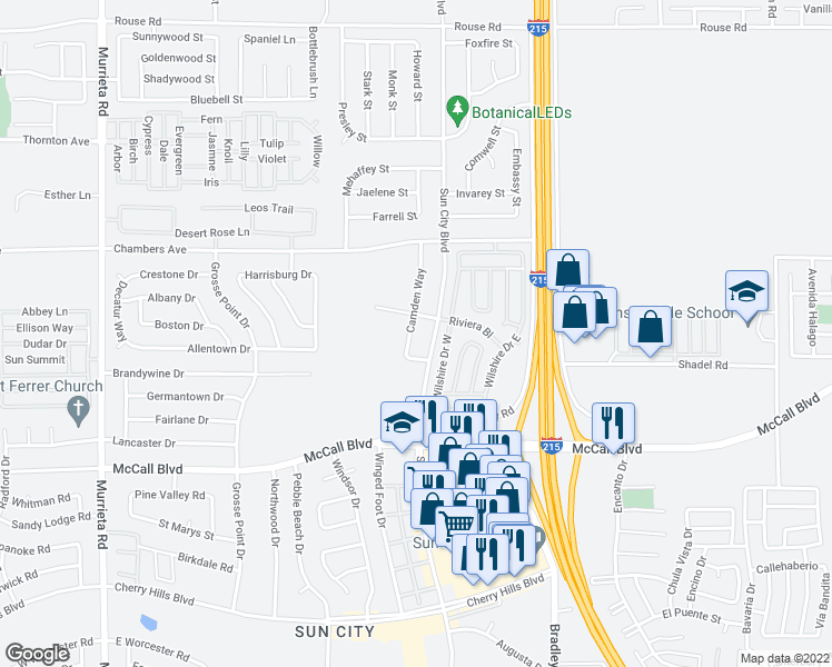 map of restaurants, bars, coffee shops, grocery stores, and more near 27680 Camden Way in Menifee