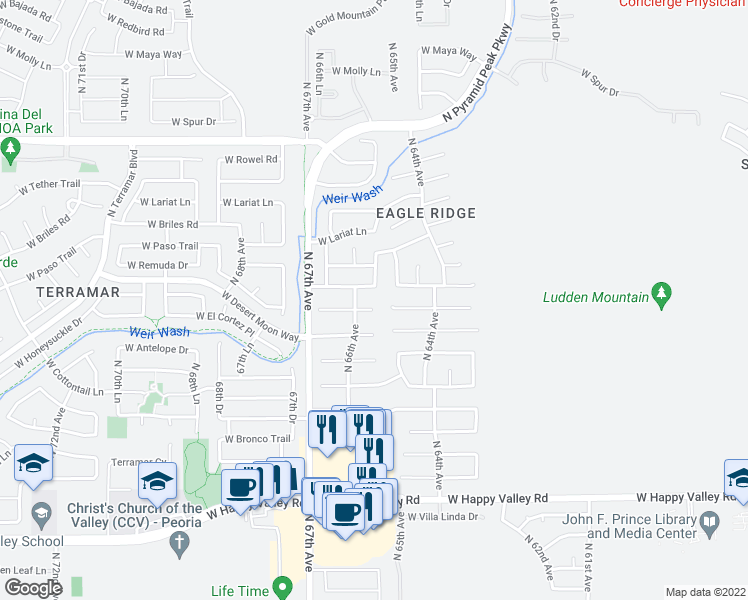 map of restaurants, bars, coffee shops, grocery stores, and more near 6514 West Honeysuckle Drive in Phoenix