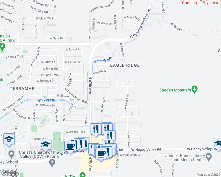 map of restaurants, bars, coffee shops, grocery stores, and more near 6521 West Prickly Pear Trail in Phoenix