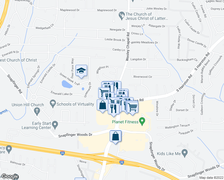 map of restaurants, bars, coffee shops, grocery stores, and more near 2359 Wingfoot Place in Decatur