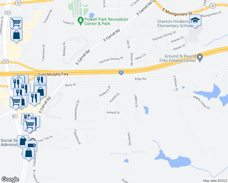 map of restaurants, bars, coffee shops, grocery stores, and more near 55-63 Azalea Drive in Villa Rica
