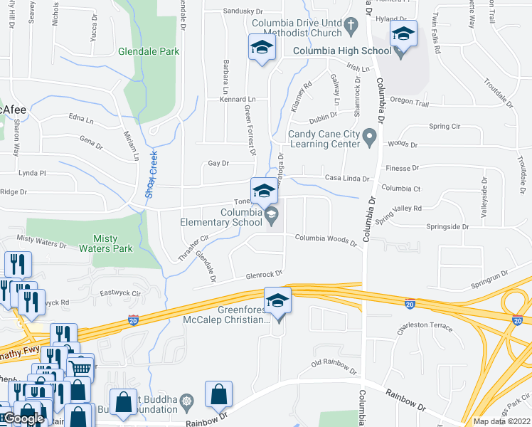 map of restaurants, bars, coffee shops, grocery stores, and more near 3230 Columbia Woods Drive in Decatur