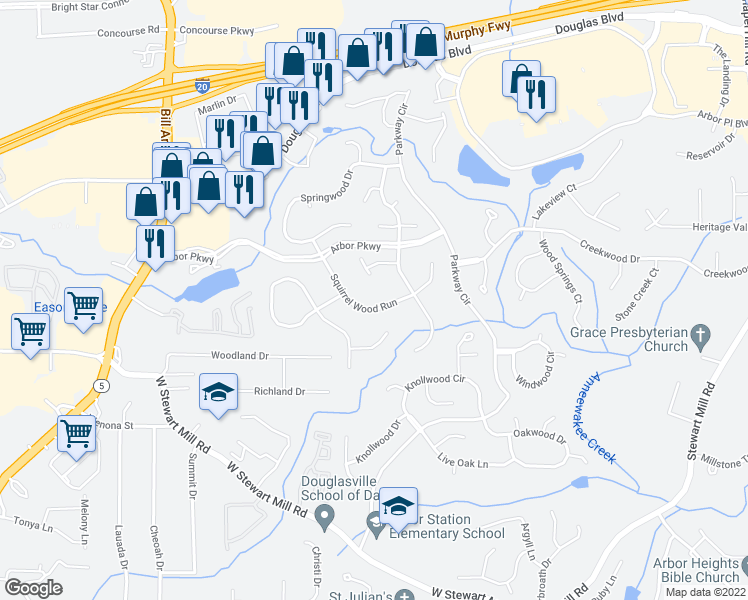 map of restaurants, bars, coffee shops, grocery stores, and more near 9695 Squirrel Wood Run in Douglasville
