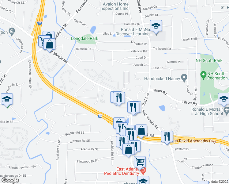 map of restaurants, bars, coffee shops, grocery stores, and more near Flat Shoals Road Southeast & Leicester Way Southeast in Atlanta