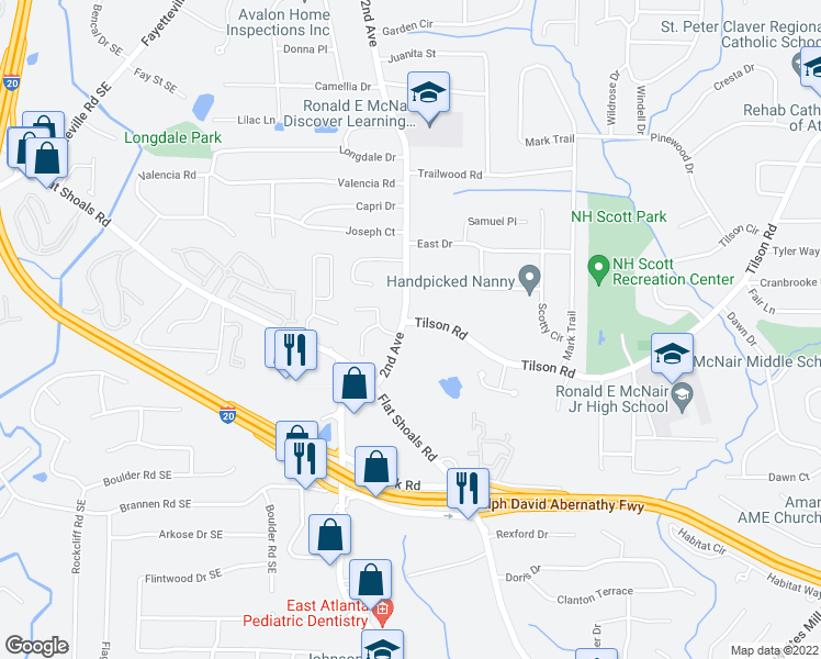 map of restaurants, bars, coffee shops, grocery stores, and more near 2352 2nd Avenue in Decatur