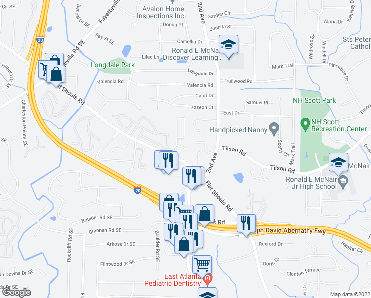 map of restaurants, bars, coffee shops, grocery stores, and more near Shawn Wayne Ct in Atlanta