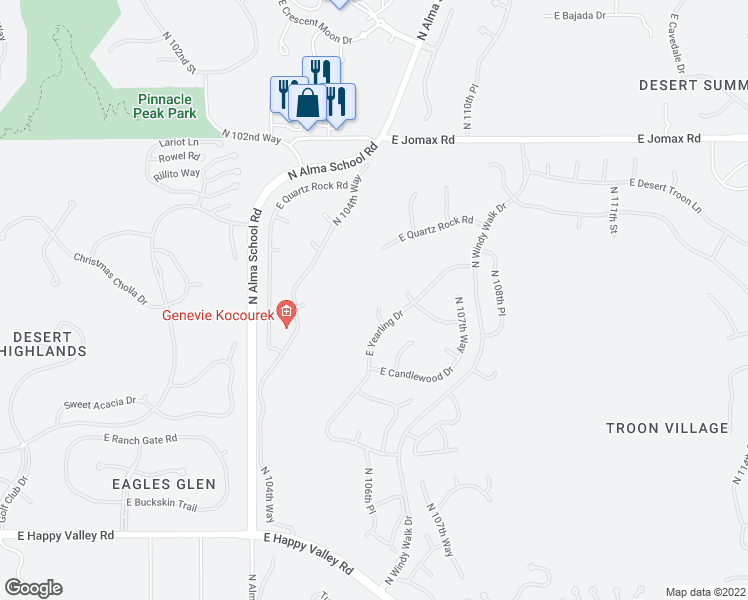 map of restaurants, bars, coffee shops, grocery stores, and more near 10666 East Yearling Drive in Scottsdale