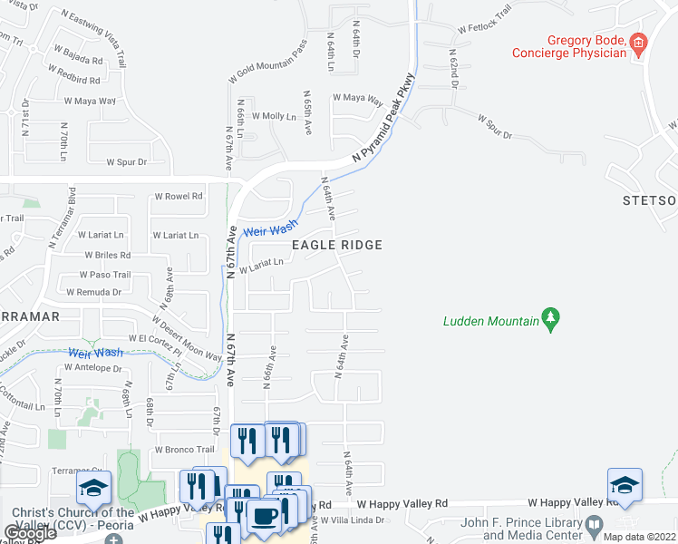 map of restaurants, bars, coffee shops, grocery stores, and more near 6403 West Chisum Trail in Phoenix