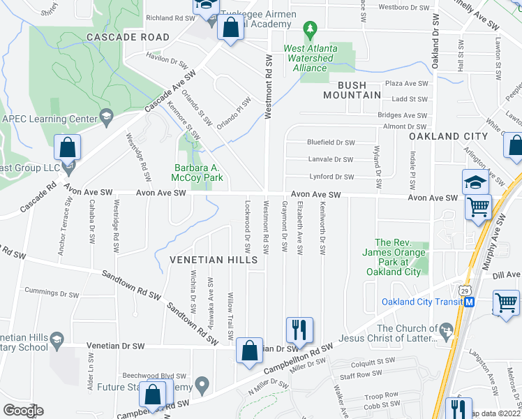 map of restaurants, bars, coffee shops, grocery stores, and more near 1227 Westmont Road Southwest in Atlanta