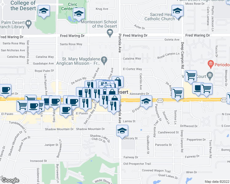 map of restaurants, bars, coffee shops, grocery stores, and more near  in Palm Desert