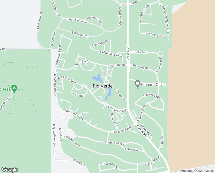 map of restaurants, bars, coffee shops, grocery stores, and more near 26098 North Chinle Drive in Rio Verde