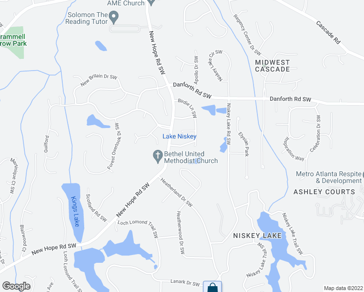 map of restaurants, bars, coffee shops, grocery stores, and more near 4745 Brightwood Lane Southwest in Atlanta