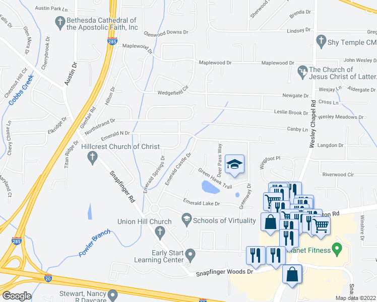 map of restaurants, bars, coffee shops, grocery stores, and more near 2225 Emerald Castle Drive in Decatur