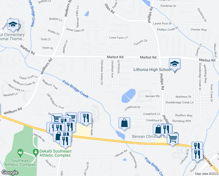 map of restaurants, bars, coffee shops, grocery stores, and more near 6124 Dana Court in Lithonia