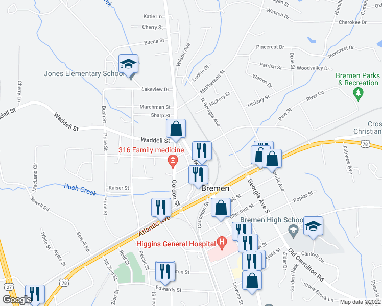 map of restaurants, bars, coffee shops, grocery stores, and more near Hamilton Ave in Bremen