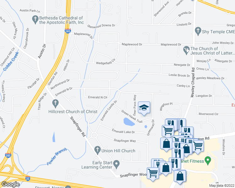 map of restaurants, bars, coffee shops, grocery stores, and more near 2203 Emerald Castle Drive in Decatur