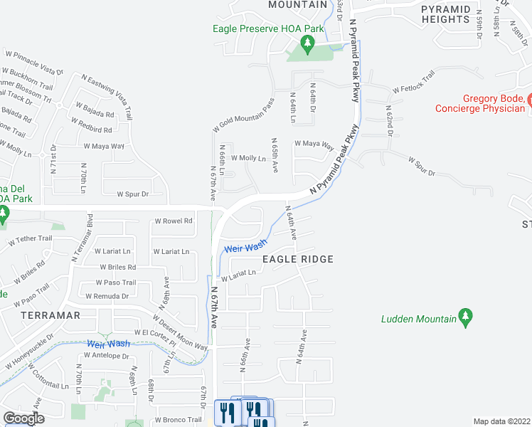 map of restaurants, bars, coffee shops, grocery stores, and more near 26413 North 65th Drive in Phoenix