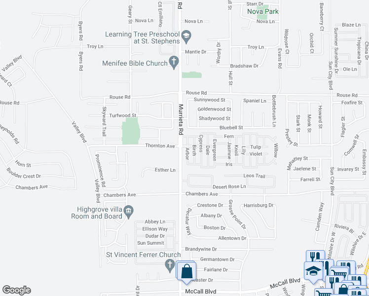 map of restaurants, bars, coffee shops, grocery stores, and more near 27250 Murrieta Road in Menifee