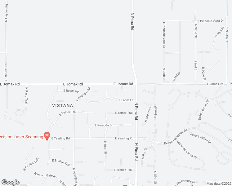 map of restaurants, bars, coffee shops, grocery stores, and more near 26550 North 86th Way in Scottsdale