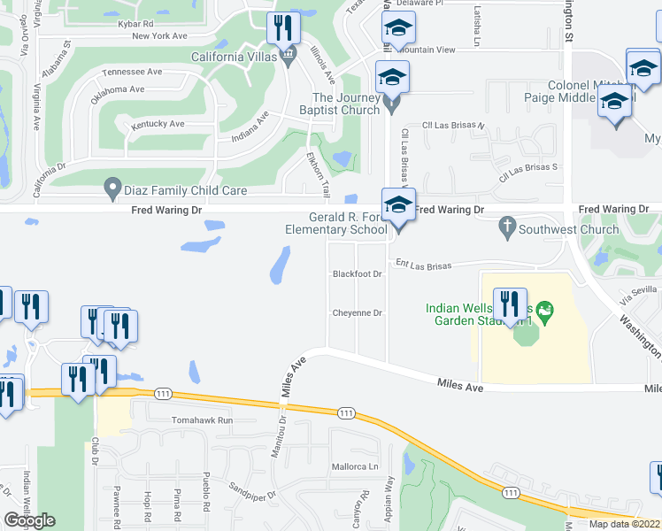 map of restaurants, bars, coffee shops, grocery stores, and more near 44320 Elkhorn Trail in Indian Wells