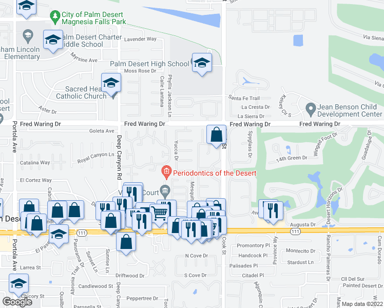 map of restaurants, bars, coffee shops, grocery stores, and more near 74959 Verbena Court in Indian Wells