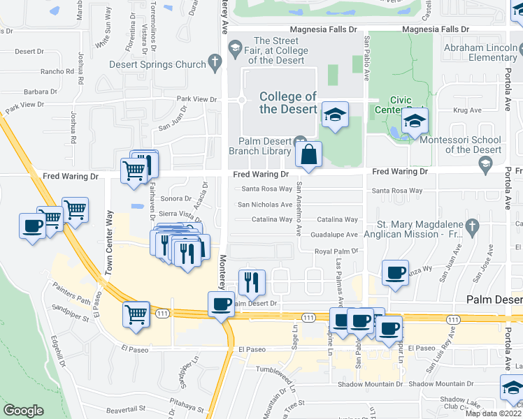 map of restaurants, bars, coffee shops, grocery stores, and more near 73121 San Nicholas Avenue in Palm Desert