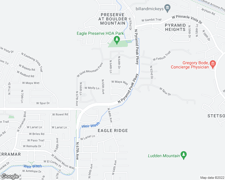 map of restaurants, bars, coffee shops, grocery stores, and more near 6447 West Molly Lane in Phoenix