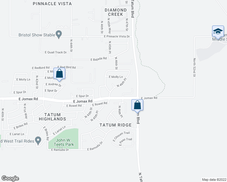 map of restaurants, bars, coffee shops, grocery stores, and more near 26729-26749 North 46th Place in Cave Creek