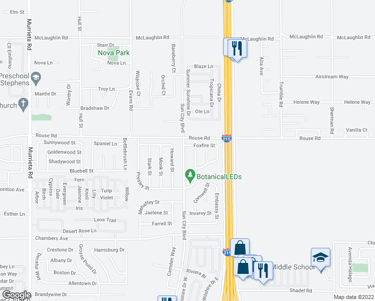 map of restaurants, bars, coffee shops, grocery stores, and more near 28436 Sun City Boulevard in Menifee